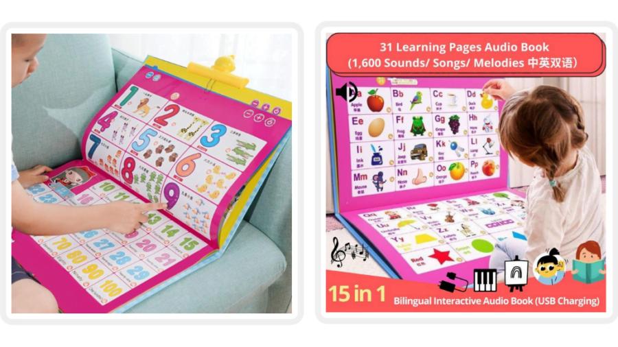 15 in 1 Activity Play Book Bilingual Interactive Children sound Book