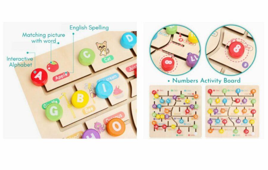 3 in1 Montessori Wooden Activity Board
