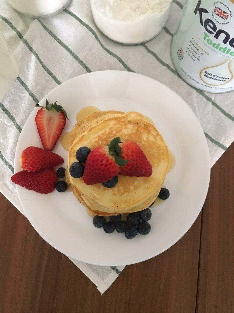 Kendamil Homade Pancake - add strawberries and blue berries (optional)