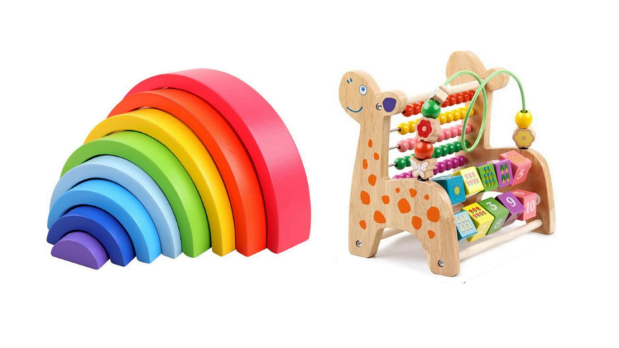 Rainbow Stacking Set and Deer Calculate Beads